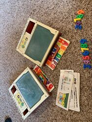 Two Vintage Fisher Price School Days Desk Magnetic Chalk Board Play Set 1972