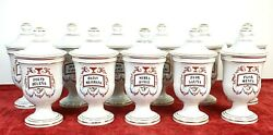 11 Albarelos Collection. Porcelain Of Limoges. Isabeline Style. Xxth Century.