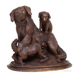 black forest carved mother dog with puppies - brienz ca. 1900