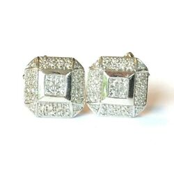18k White Gold Ladies Square Huggie Earrings W/ 2 Caratprincess And Round Diamonds