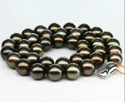 Huge 1812-15mm Natural South Sea Genuine Black Red Perfect Round Pearl Necklace