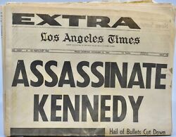 1963 Nov 22 Los Angeles Times Extra - Assassinate Kennedy - Historical Newspaper