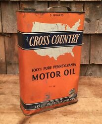 Large Vintage 5 Qt Cross Country Motor Oil Gas Service Station Tin Can Sign Pa
