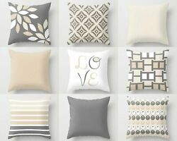 NEUTRAL Pillow Covers Decorative Throw Pillows Home Decor Grey Beige Love S