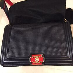 100% AUTHENTIC CHANEL LE BOY MEDIUM BLUe FLAP BAG WITH GOLD HARDWARE