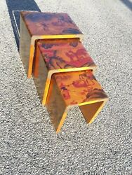 Mid Century Modern Oriental Motif Stacking Tables Stools Asian Deer Lions Turtle