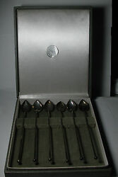 Antique Vintage Sterling Silver Georg Jensen Wallace Heart Iced Tea Spoons And Box