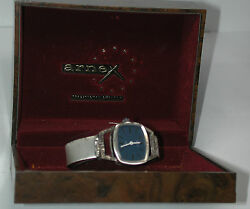 New Antique Swiss Arnex Womens Sterling Silver Wrist Watch Watch W/band And Box