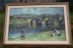 Leonard Creo Herefordshird Countryside Oil Painting On Canvas 18x29