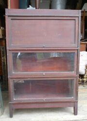 Antique Globe Wernicke 3 Section Mahogany Barrister Bookcase