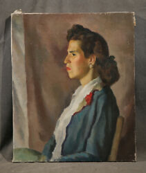 Vintage Antique Painting Beautiful Young Mexican Lady Profile Portrait