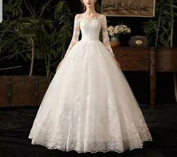 Uk White Ivory Lace Long Sleeve A Line Sequins Tulle Wedding Dresses Size 6-24