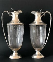 Mappin And Webb Silver Sterling Signed Antique Pitchers Wine Decanters Pair