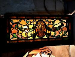 Antique American Stained Glass Transom Window Large