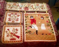 4-pc Evelyn Ackerman Tapestry Hooked Rugs Untouched Mid Century Modern