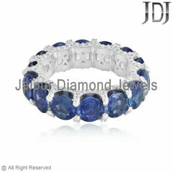 Genuine Pave Diamond Blue Sapphire Band Ring Solid 14k White Gold Fine Jewelry