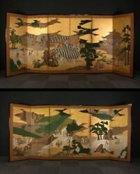 en0932tibFk3 Japanese Gold Byobu Pair of screen EDO