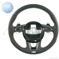 Oem Audi Sq5 Steering Wheel W Extended G-tronic Gear Paddle Shifters Red Threads