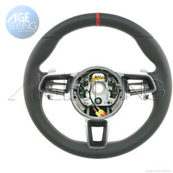 Porsche 911 Cayman 718 Boxster Gt-style Leather Steering Wheel Pdk Gear Paddles