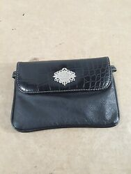 Harley Davidson Black Leather Handbag Clutch Motorcycle See Pictures $24.99