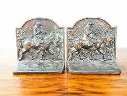 Vintage 1920s Heavy Brass Pair Bookends George Washington On Horse Valley Forge