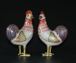 China Late Qing Or Republic Period Chinese Cloisonne Roosters 866a.