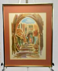 David Gilboa 1910-1976 Pen And Watercolor Architecture Signed And Framed