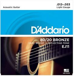 D#x27;Addario EJ11 Light Acoustic Guitar Strings 80 20 Bronze 12 53
