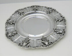 925 Sterling Silver Hand Chased Large Leaf Appliques And Fluted Large Round Tray