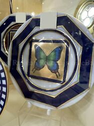 Porcelain Decorative Plate Butterfly №4 Russian Imperial Lomonosov Gold Green