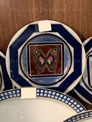 Porcelain Decorative Plate Butterfly №7 Russian Imperial Lomonosov Gold Green