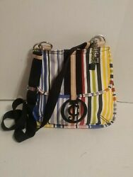 JUICY COUTURE CROSS BODY SHOULDER CANVAS STRIPED BAG. PRE OWNED $10.47