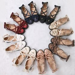 Womenand039s College Sweet Lolita Bowknot Round Toe Mary Janes Chunky Mid Heels Shoes
