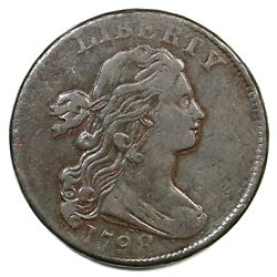 1798 S-166 Large 8, 2nd Hair Draped Bust Large Cent Coin 1c