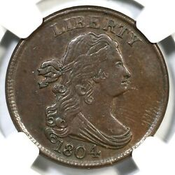 1804 C-6 Ngc Au 55 Manley 10.0 Spiked Chin Draped Bust Half Cent Coin 1/2c