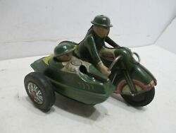 MOTORCYCLE WITH SIDE CAR MILITARY FRICTION ALL METAL TESTED WORKS---SCARCE