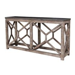 66.5 W Margerite Console Table Solid Blue Stone Top Hand Crafted Reclaimed Pine