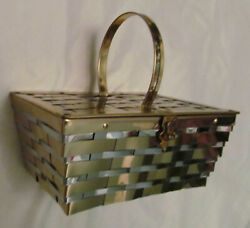 vintage 50's  DORSET REX  woven metal midcentury pin up box large hand bag