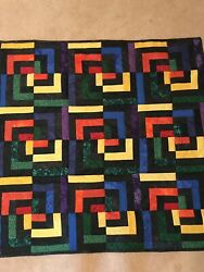 Homemade Rainbow Optical Illusion Wall Hanging Quilt