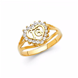 14k Solid Yellow Gold Cz Heart Sweet 16 Ring - Cubic Love Birthday Band Girl