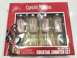 Captain Morgan Cocktail Shooter Set With 4 Shot Glasses Brand New In Box