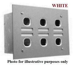 Clipsal Labelled Switch Plate 6-gang Less Mechanism Stainless Steel White