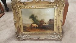 19th C Hudson River School Oil Painting Unsigned Cows In A Field