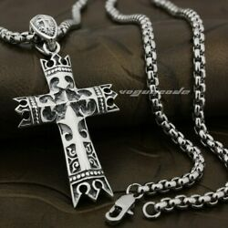 925 Sterling Silver King Crown Knight Cross Mens Pendant 8A005A Steel N 24quot; $44.99