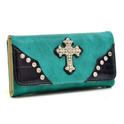 Western Rhinestone Cross Women Wallets $12.99