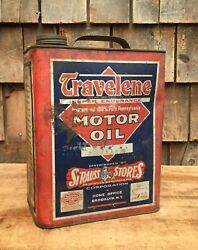 Vintage 2 Gl Travelene Motor Oil Tin Can Sign Strauss Stores Gas Service Station