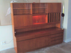 Vintage Danish Teak Entertainment Center Bar Stereo Album Storage Wall Unit