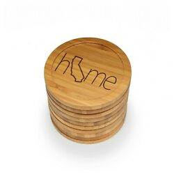 Engraved Bamboo Coasters - Home W/ State - Style 2 - Round