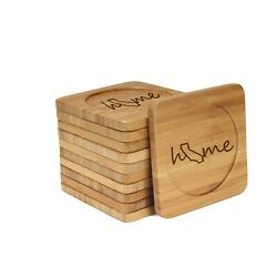 Engraved Bamboo Coasters - Home W/ State - Style 1 - Square