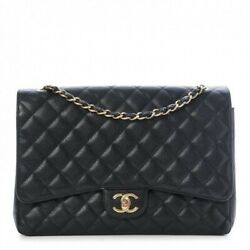 CHANEL Black Quilted Caviar Leather Maxi Double Flap Bag with GHW 100% AUTHENTIC